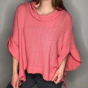 Free People Pink Slouchy Cowl Neck Knit Sweater